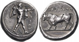 LUCANIA. Poseidonia. Circa 445-420 BC. Stater (Silver, 19 mm, 8.54 g, 5 h). ΠΟΜΕΙ Poseidon striding to right, brandishing trident and with chlamys ove...