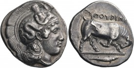 LUCANIA. Thurium. Circa 410-400 BC. Distater (Silver, 27 mm, 15.36 g, 2 h), signed, on the reverse by Istoros and Eu.... Head of Athena to right weari...