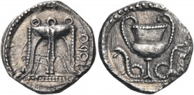BRUTTIUM. Kroton. Circa 460 BC. Hemidrachm (Silver, 12.5 mm, 1.23 g, 6 h). ϘPO (retrograde) Tripod with three ring handles and legs ending in lion's p...