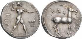 BRUTTIUM. Kaulonia. Circa 475-425 BC. Stater (Silver, 20 mm, 8.02 g, 9 h). ΚΑVΛ (retrograde) Apollo, nude, his hair bound with a taenia, advancing to ...
