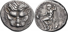 BRUTTIUM. Rhegion. Circa 435-425 BC. Tetradrachm (Silver, 27 mm, 17.29 g, 10 h). Lion's mask facing; to left, olive sprig; to right,  hare running upw...