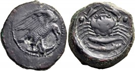 SICILY. Akragas. Circa 420-410 BC. Hexas (Bronze, 19 mm, 7.82 g). Eagle right, clutching fish in its talons. Rev. Α-[Κ]-Ρ-Α-Γ Crab; to left and right,...