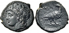 SICILY. Akragas. Phintias, tyrant, 287-279 BC. (Bronze, 15 mm, 2.94 g, 1 h). (ΑΚΡΑΓΑΝΤΙ)-partially visible. Laureate head of Apollo to  left. Rev. ΦΙ ...