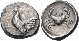 SICILY. Himera. Circa 480-470 BC. Didrachm (Silver, 21 mm, 8.36 g, 2 h). ΗΙΜΕRΑ Cock standing left. Rev. Crab within shallow circular incuse. Locker L...