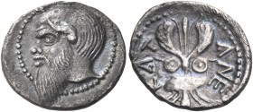 SICILY. Katane. Circa 461-450 BC. Litra (Silver, 12 mm, 0.79 g, 5 h). Balding head of Silenos to left, with an animal ear and a long beard. Rev. ΚΑΤ-Α...