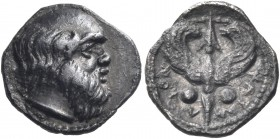SICILY. Katane. Circa 430-415/3 BC. Litra (Silver, 11 mm, 0.86 g, 3 h). Bald and bearded head of Silenos to right. Rev. KATAN-AIΩN Winged thunderbolt ...