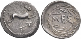 SICILY. Messana. Circa 445-439 BC. Litra (Silver, 13 mm, 0.75 g, 11 h). Hare springing to right; below, ivy branch. Rev. MEΣ within olive wreath with ...