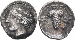 SICILY. Naxos. Circa 420-403 BC. Litra (Silver, 11 mm, 0.75 g, 11 h), signed by the engraver Prokles on the obverse. ΝΑΧΙΩΝ Head of youthful Dionysos ...