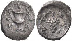 SICILY. Naxos. Circa 420-403 BC. Tetras or Trionkion (Silver, 8 mm, 0.20 g, 6 h). N A Kantharos; around, three pellets (value marks). Rev. Vine with a...