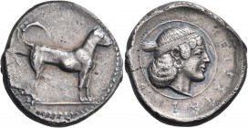 SICILY. Segesta. Circa 465-450 BC. Didrachm (Silver, 23 mm, 8.41 g, 6 h). Hunting dog standing alertly to right. Rev. ΣΕΓΕΣΤΑΖΙ8 Diademed head of the ...