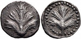 SICILY. Selinos. Circa 515-480/70 BC. Obol (Silver, 10 mm, 0.49 g, 12 h). Leaf of wild parsley. Rev. Leaf of wild parsley within a linear circle insid...