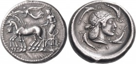 SICILY. Syracuse. Deinomenid Tyranny, 485-466 BC. Tetradrachm (Silver, 26 mm, 17.38 g, 6 h), c. 483-480. Bearded charioteer driving quadriga walking t...