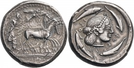 SICILY. Syracuse. Deinomenid Tyranny, 485-466 BC. Tetradrachm (Silver, 24 mm, 17.39 g, 1 h), c. 480-475. Male charioteer, wearing a long chiton and ho...