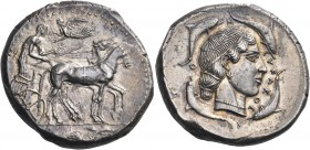 SICILY. Syracuse. Second Democracy, 466-405 BC. Tetradrachm (Silver, 28 mm, 17.39 g, 11 h), c. 460-450. Charioteer driving quadriga walking to right, ...