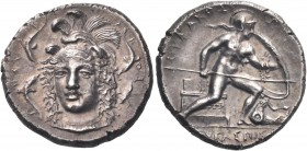 SICILY. Syracuse. Dionysios I, 405-367 BC. Drachm (Silver, 17.5 mm, 4.10 g, 5 h), probably an unsigned work by Eukleidas, c. 405-400. ΣΥ-Ρ-Α-Κ-ΟΣΙ-Ω-Ν...