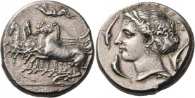 SICILY. Syracuse. Dionysios I, 405-367 BC. Tetradrachm (Silver, 24 mm, 17.41 g, 10 h), unsigned but by Parmenides, c. 395. Charioteer, holding reins a...