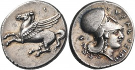 SICILY. Syracuse. Timoleon and the Third Democracy, 344-317 BC. Stater (Silver, 23 mm, 8.55 g, 10 h). Pegasos flying to left. Rev. ΣYPAKOΣIΩN Head of ...