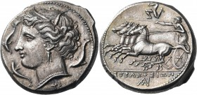 SICILY. Syracuse. Agathokles, 317-289 BC. Tetradrachm (Silver, 25 mm, 17.20 g, 7 h), c. 310-305. Wreathed head of Arethusa to left, wearing triple pen...