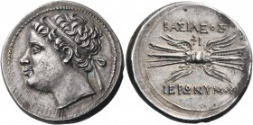 SICILY. Syracuse. Hieronymos, 215-214 BC. 10 litrai (Silver, 23 mm, 8.48 g, 3 h). Diademed head of Hieronymos to left. Rev. BAΣIΛEΩΣ IEPΩNYMOY Winged ...