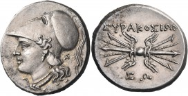 SICILY. Syracuse. Fifth Democracy, 214-212 BC. 8 Litrai (Silver, 22 mm, 6.79 g, 8 h). Head of Athena to left, wearing crested Corinthian helmet,  pend...