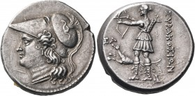 SICILY. Syracuse. Fifth Democracy, 214-212 BC. (Silver, 23 mm, 10.28 g, 2 h), 12 Litrai. Head of Athena to left, wearing crested Corinthian helmet wit...
