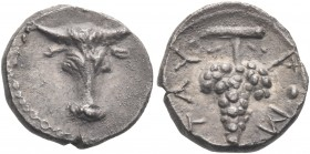 SICILY. Tauromenion. Circa 275-216/2 BC. Litra (Silver, 10 mm, 0.83 g, 9 h). Bucranium. Rev. TAY-P•M Bunch of grapes. SNG ANS 1124. SNG Copenhagen 933...