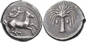 SICILY. Unlocated Punic mints. Circa 410-395 BC. Tetradrachm (Silver, 25 mm, 17.29 g, 12 h). Horse galloping to right; above, Nike flying right to cro...