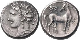 CARTHAGE. Circa 300-264 BC. Shekel (Silver, 18.5 mm, 7.57 g, 11 h). Head of Tanit-Persephone to left, wearing pendant necklace, single-drop earring an...