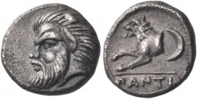 CIMMERIAN BOSPOROS. Pantikapaion. Circa 380-370 BC. Obol (Silver, 10 mm, 0.81 g, 9 h). Head of bearded satyr to left. Rev. ΠANTI Forepart of lion to l...