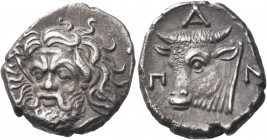 CIMMERIAN BOSPOROS. Pantikapaion. Circa 340-325 BC. Drachm (Silver, 15 mm, 3.49 g, 11 h). Bearded head of Pan to left, turned three-quarters facing to...