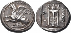 THRACE. Abdera. Circa 411/0-386/5 BC. Stater (Silver, 23 mm, 12.82 g, 11 h), Python. ΑΒΔΗΡΙ Griffin rearing up to left. Rev. ΠΥ - ΘΩΝ Tripod. May, Abd...