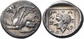 THRACE. Abdera. Circa 365/0-350/45 BC. Drachm (Silver, 15 mm, 2.78 g, 12 h), Molpagores. Griffin, with open wings and both forelegs raised, seated to ...