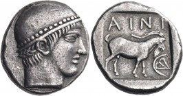 THRACE. Ainos. Circa 457/6-456/5 BC. Tetradrachm (Silver, 26 mm, 16.34 g, 5 h). Head of Hermes to right, his hair wound around his head in a plait, we...