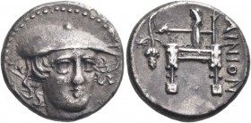 THRACE. Ainos. Circa 357-342/1 BC. Drachm (Silver, 16 mm, 3.84 g, 12 h). Head of Hermes facing, turned slightly to the right, wearing a flat petasos w...