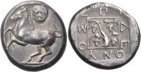 THRACE. Maroneia. Circa 411/0-398/7 BC. Stater (Silver, 23 mm, 12.64 g, 2 h), Deonyos. Bridled horse springing to left, with trailing rein; above, hea...