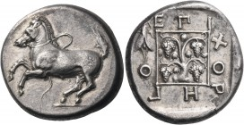THRACE. Maroneia. Circa 386/5-348/7 BC. Stater (Silver, 23.5 mm, 10.91 g, 10 h), Choregos. Bridled horse springing to left, with trailing rein. Rev. E...