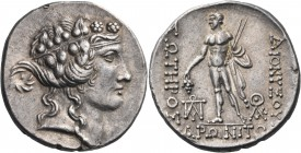THRACE. Maroneia. Circa 189/8-49/5 BC. Tetradrachm (Silver, 29 mm, 16.40 g, 1 h), circa 150s BC. Head of youthful Dionysos to right, wearing taenia an...