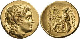 KINGS OF THRACE. Ptolemy Keraunos, 281-279 BC. Stater (Gold, 20 mm, 8.53 g, 5 h), in the name and with the types of Lysimachos, Lysimacheia, 281-280. ...