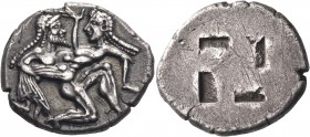 ISLANDS OFF THRACE, Thasos. Circa 500-463 BC. Stater (Silver, 23 mm, 9.41 g). Nude, ithyphallic and bearded satyr moving right in the archaic 'running...