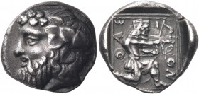 ISLANDS OFF THRACE, Thasos. Circa 411-340 BC. Drachm (Silver, 16 mm, 3.85 g, 1 h). Bearded head of Dionysos to left, wearing ivy wreath with berries a...