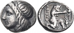 ISLANDS OFF THRACE, Thasos. Circa 356-345 BC. Hemidrachm (Silver, 11.5 mm, 1.82 g, 6 h). Youthful male head (a river god?) to left, with long hair bou...