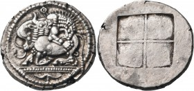 MACEDON. Akanthos. Circa 470 BC. Tetradrachm (Silver, 26 mm, 16.85 g). Lion to right, attacking bull, collapsing to left with head raised to right; ab...