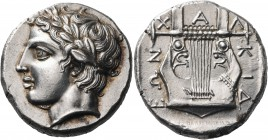 MACEDON, Chalkidian League. Olynthos. Circa 410-400 BC. Tetradrachm (Silver, 25 mm, 14.44 g, 12 h). Laureate head of Apollo to left. Rev. Χ-Α-Λ|ΚΙΔ|ΕΩ...