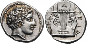 MACEDON, Chalkidian League. Olynthos. Circa 383/2 BC. Tetradrachm (Silver, 25 mm, 14.46 g, 9 h). Laureate head of Apollo to right. Rev. Χ-Α-Λ|ΚΙΔ|ΕΩΝ ...