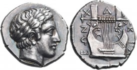 MACEDON, Chalkidian League. Olynthos. Circa 382-379 BC. Tetradrachm (Silver, 25 mm, 14.47 g, 3 h). Laureate head of Apollo to right. Rev. Χ-Α-Λ|ΚΙΔ|ΕΩ...