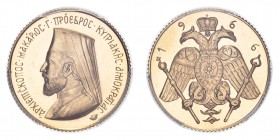 CYPRUS. Archbishop Makarios. Gold Pound 1966, 7.99 g. KM-X# M4. Medallic sovereign portraying Archbishop Makarios III and the emblem of the Church of ...