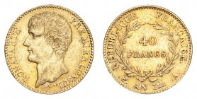 FRANCE: CONSULATE, 1799-1804. Napoleon, first consul, 1799-1804. Gold 40 Francs An 12-A (1803/04), Paris. 12.9 g. Calendar year mintage 253,406. KM# 6...
