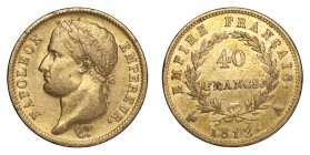 FRANCE. Napoleon I, 1804-14, 1815. Gold 40 Francs 1812-A, Paris. 12.9 g. Calendar year mintage 692,625. KM# 696.1. Some retained lustre coming through...