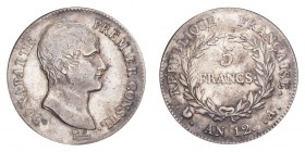 FRANCE: EMPIRE. Napoleon I, 1804-14, 1815. 5 Francs An 12-M (1803/04), Paris. 25 g. KM-659.10. Very fine.