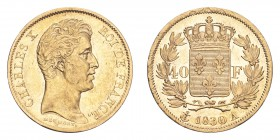 FRANCE. Charles X, 1824-30. Gold 40 Francs 1830-A, Paris. 12.84 g. KM-721.1. Extremely fine, reverse better.